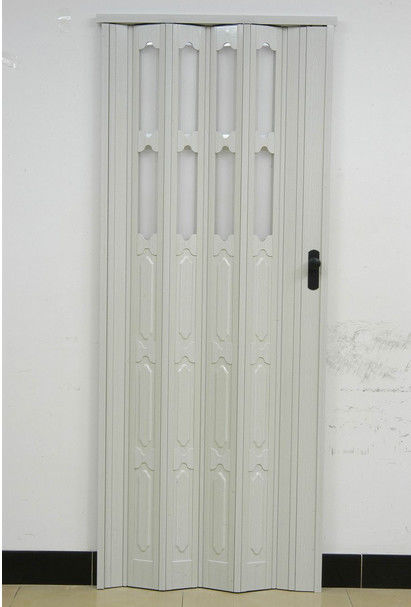Double Layer Panel PVC Folding Door 110mm Width Accordion Door With Lock